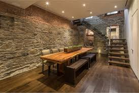 Stone Wall Tiles For Living Room Decoration Narrow Moden Dining Room Design With Oak Dining Table