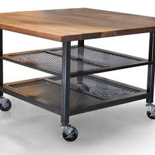 steel kitchen island crafted custom walnut steel kitchen island metal kitchen