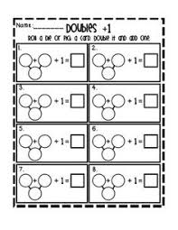 doubles addition facts worksheets free doubles and doubles plus one task cards an math