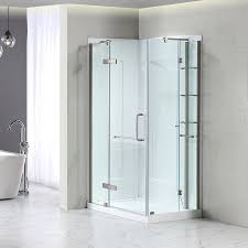 shop corner shower kits at lowes com ove decors savannah brushed nickel walls not included wall floor rectangle 1 piece corner shower