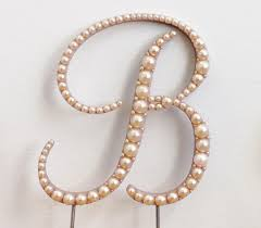 pearl monogram cake topper gold pearl monogram cake topper font 4 any