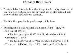 bid rate 1 quotation spot and forward markets 2 exchange rate quotes the