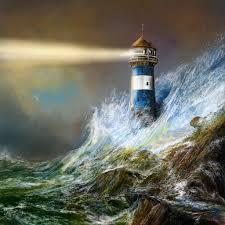 andre kosslick digital art lighthouse storms and ocean ocean