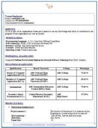 Mccombs Resume Template Cv Format For Bba Freshers Download
