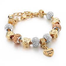 bracelet gold love images Fashion love women bracelet for women gold 2017 owl heart charm jpg
