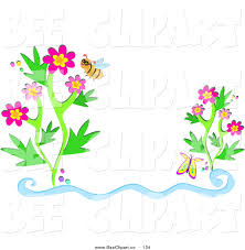 vector clip art of a helpful bee wearing glasses by flowers and a