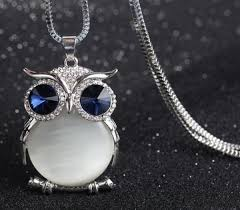 crystal owl necklace images Owl silver plated necklace crystal pendant medusa gifts bulgaria jpg