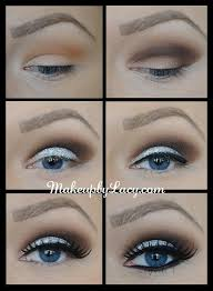 shimmery glittery makeup for blue eyes with smoky crease evening