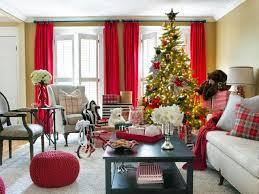christmas living room decor beige fireplace hang white socks