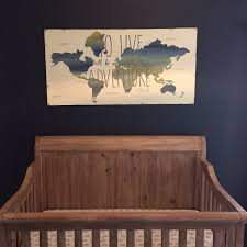 Wooden World Map Wall Art by To Live Will Be An Awfully Big Adventure Peter Pan Quote