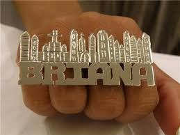 two finger name ring 925 silver two finger name rings personalized nikfine
