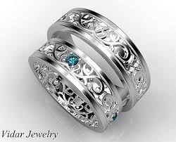 unique matching wedding bands his ans blue diamond matching band set wedding band set unique