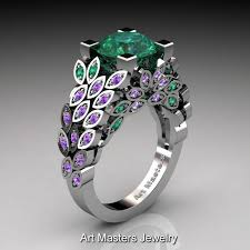 emerald amethyst rings images Art masters nature inspired 14k white gold 3 0 ct emerald amethyst jpg