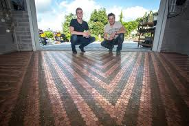 Garag by Dad And Son Painstakingly Lay A New Garage Floor Made Out Of