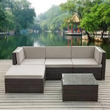 brown ikayaa 5pcs pe rattan wicker patio garden furniture sofa set