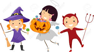 illustration of kids trick or treating stock photo picture and