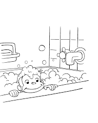 cleaning himself curious george coloring pages cartoon coloring