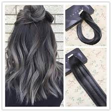 grey hair extensions in hair extensions balayage ombre color black 1b to grey