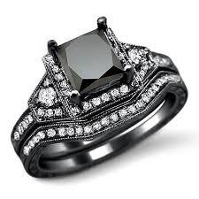 black gold wedding rings 2 0ct black princess cut diamond engagement ring