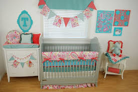 Bright Crib Bedding Coral And Aqua Crib Set Baby And Nursery Furnitures