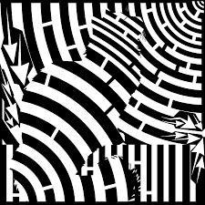 maze of cat on fence op art digital art by maze op art artist