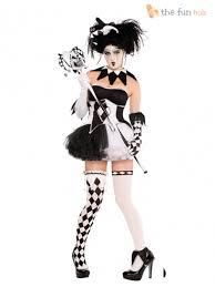 ladies clown halloween costumes ladies harlequin costume tricksterina jester clown costume