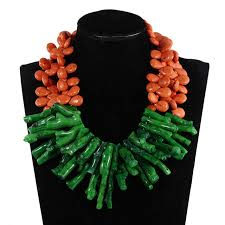 orange stone necklace images Fashion gorthic green coral bead pendant wedding necklace orange jpg