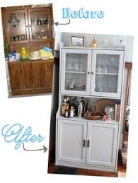 Bar Hutch Cabinet Before And After China Hutch Makeover For Dining Room Painted In