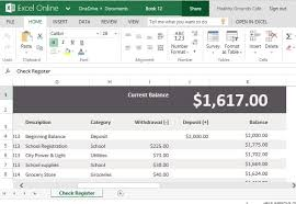Microsoft Excel Check Register Template Record Account Payments Deposits With Check Register Template