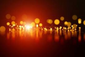 abstract background orange blurred lights with reflection