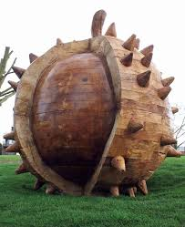 sculpture conker big outsize carved wood sweet chestnut statue
