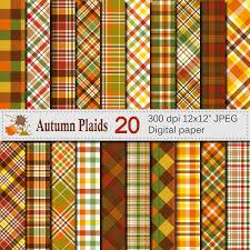 autumn plaid digital paper fall plaid patterns thanksgiving