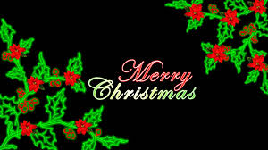 merry christmas flourish holly and poinsettia animation free