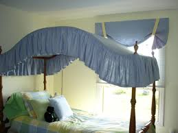 bedroom white canopy bed drapes with metal bed and grey wall for