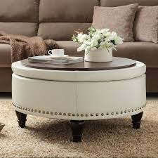 incredible large round ottoman with storage within coffee table