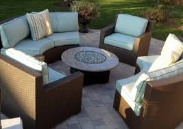 Gas Fire Pit Table Sets - outdoor curved sectional chat set with gas fire pit patio