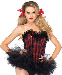 la2637 leg avenue easy a plaid schoolgirl corset fancy dress