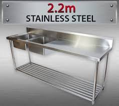Steel Double Left Sink Bench For Commercial Kitchen Restaurant M - Commercial kitchen sinks stainless steel