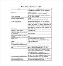 Project Finance Term Sheet Exle 13 term sheet template free word pdf documents free
