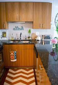 Beautiful Small Kitchen Designs by Beautiful Small Kitchen In Apartment With Chevron Rug And Metallic