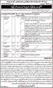Resume Of Data Entry Operator Data Entry Operators Junior Clerks Job In Bise Gujranwala 2017