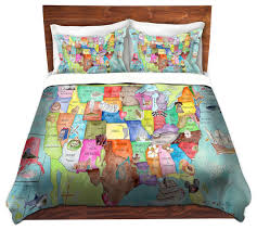 dianoche duvet covers twill united states map contemporary