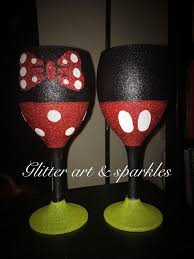 his hers wine glasses his hers mickey mouse minnie mouse glitter wine glass gift set