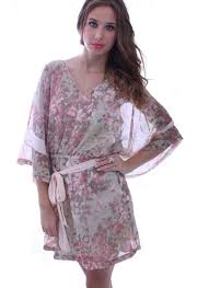 sheer floral print kimono style v neck dress