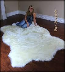 Faux White Sheepskin Rug Flooring Comfy Faux Sheepskin Rug For Floor Decor Ideas