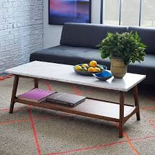 streamline coffee table west elm reeve mid century coffee table rectangle marble pecan mid