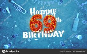 69th birthday card happy 69th birthday card with beautiful details stock photo