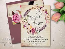 bohemian wedding invitations boho wedding invitation printable watercolor floral wedding