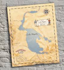 Wisconsin Lake Maps by Lake Wissota Wisconsin Vintage Inspired Lake Map Print
