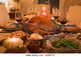 roast turkey with accompaniments for thanksgiving 1 stock photo